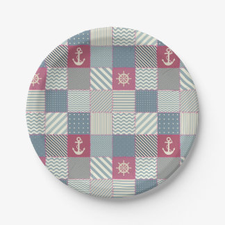 Nautical Patchwork Quilt Pattern Paper Plate
