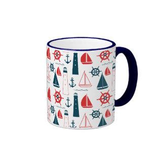 Nautical Patriot Ringer Coffee Mug