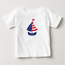 Nautical Patriotic Sailboat Monogrammed Name Baby T-Shirt