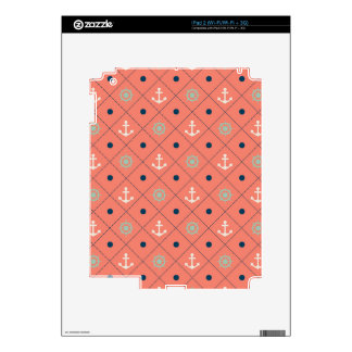 Nautical Pattern Anchor Helm Wheel Sailor Coral Skin For iPad 2