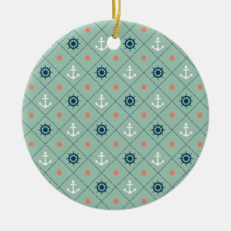 Nautical Pattern Anchor Helm Wheel Sailor Mint Ceramic Ornament