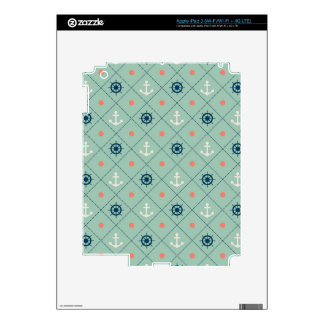 Nautical Pattern Anchor Helm Wheel Sailor Mint iPad 3 Decals