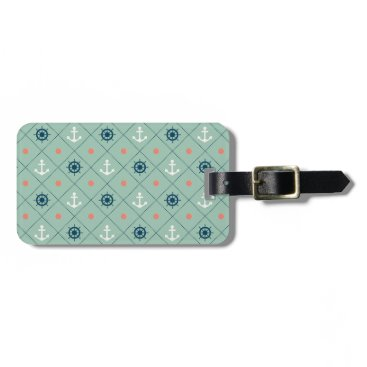 Nautical Pattern Anchor Helm Wheel Sailor Mint Luggage Tag