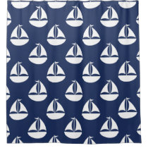 Nautical Pattern Blue White Sailboat Shower Curtain