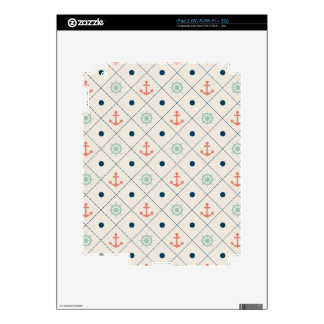Nautical Pattern Ivory Anchor Helm Wheel Sail Skins For The iPad 2