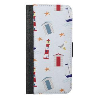 Nautical Pattern (Marine Pattern) - Blue Red White iPhone 6/6s Plus Wallet Case