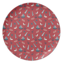 Nautical Pattern Melamine Plate