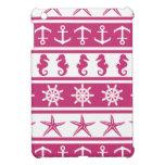 Nautical pattern on custom background color iPad mini cases