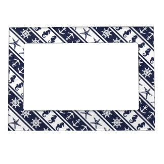 Nautical pattern on custom background color magnetic photo frame