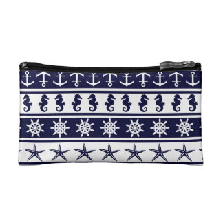 Nautical pattern on custom background color makeup bag