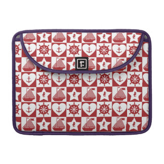 Nautical pattern on custom background color sleeve for MacBooks