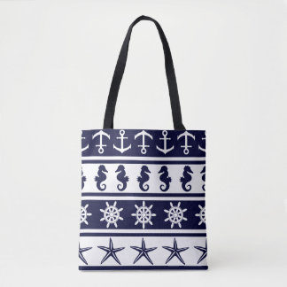 Nautical pattern on custom background color tote bag