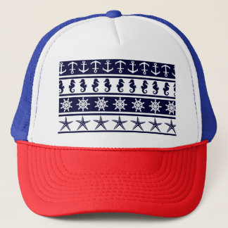 Nautical pattern on custom background color trucker hat