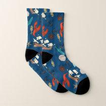 Nautical Pattern On Navy Blue Socks