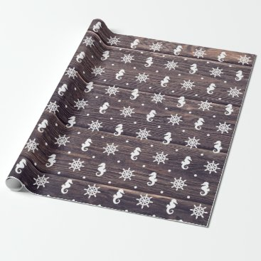 Beach Themed Nautical pattern on wood texture background wrapping paper