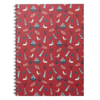 Nautical Pattern Spiral Notebook