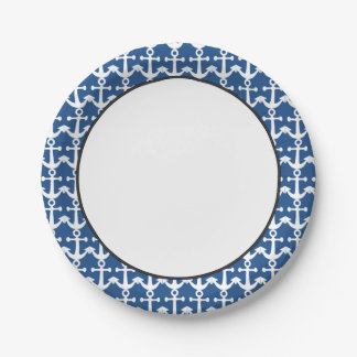 Nautical Pattern | White and Blue Paper Plate