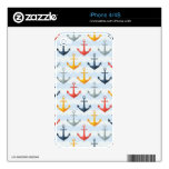 Nautical Pattern with Anchors Decals For iPhone 4