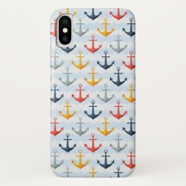 Professional Business Nautical Pattern with Anchors iPhone X Case