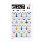 Nautical Pattern with Anchors Postage Stamps