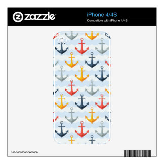 Nautical Pattern with Anchors Skins For The iPhone 4S