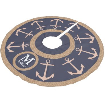 Beach Themed Nautical Peach Anchors on Navy Blue - Family Name Brushed Polyester Tree Skirt