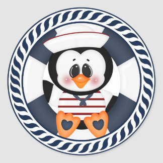 Nautical Penguin Classic Round Sticker