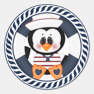 Nautical Penguin Classic Round Sticker