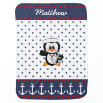 Nautical Penguin with Anchor Baby Blanket