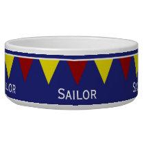 Nautical Pennants on Blue Bowl