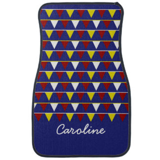 Nautical Pennants on Blue Personalized Car Mats