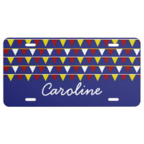 Nautical Pennants on Blue Personalized License Plate