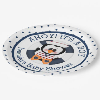 Nautical Penquin Baby Shower Paper Plate
