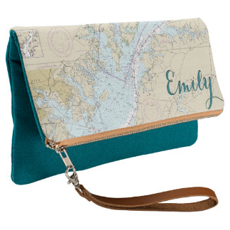 Nautical Personalized Baltimore MD Teal & Tan Clutch