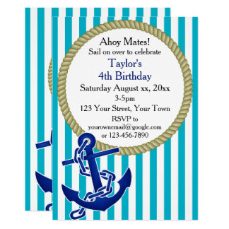 Nautical Personalized Birthday Party Card