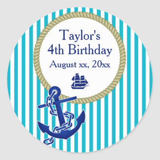 Nautical Personalized Birthday Party Classic Round Sticker