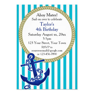 Nautical Personalized Birthday Party 5x7 Paper Invitation Card