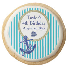 Nautical Personalized Birthday Party Round Shortbread Cookie