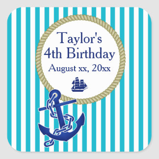 Nautical Personalized Birthday Party Square Sticker