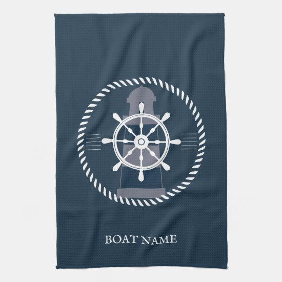Nautical personalized Boat Name Navy Blue Kitchen Towel