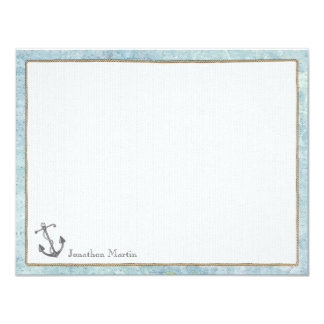Nautical Personalized Flat Note Cards - Anchor