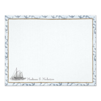 Nautical Personalized Flat Note Cards - Boat