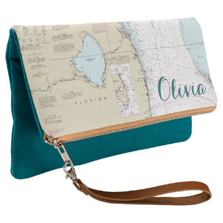 Nautical Personalized Jupiter Florida Teal & Tan Clutch