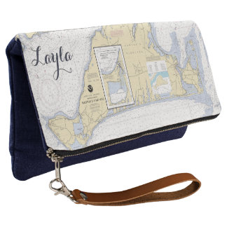 Nautical Personalized Martha's Vineyard MA Clutch