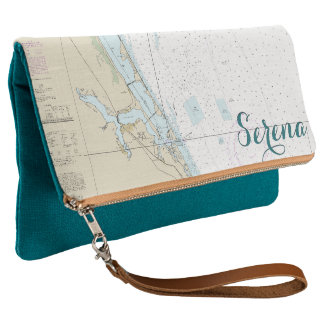 Nautical Personalized Stuart Florida Teal & Tan Clutch