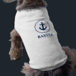 "Nautical Pet Name Anchor Rope White Shirt<br><div class=""desc"">Nautical Pet Name Anchor Rope Dog Shirt</div>"