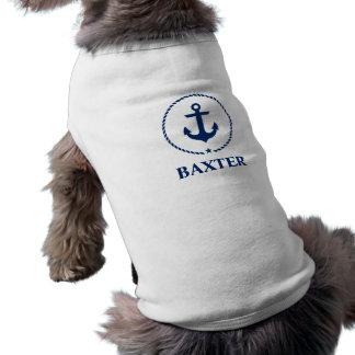 Nautical Pet Name Anchor Rope White Shirt