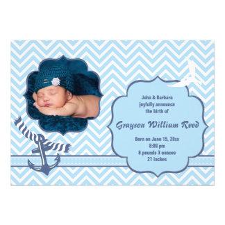 Nautical Photo Blue Birth Announcement