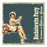 """nautical pin up bachelorette party invitation 5.25"""" square invitation card"""