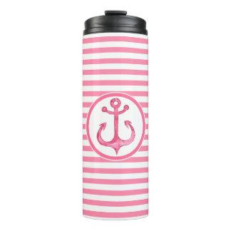 Nautical Pink Anchor Striped Thermal Tumbler